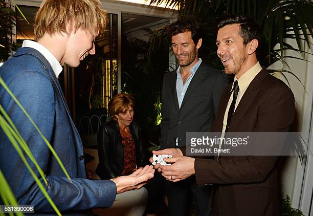 Brendon Hartley Mark Webber and Nigel Mead attend the Chopard x Annabel's Cannes party on May 14 2016 in Cannes France