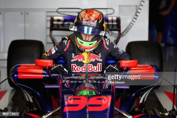 Brendon Hartley of New Zealand and Scuderia Toro Rosso prepares for the weekend in the garage during previews ahead of the United States Formula One...
