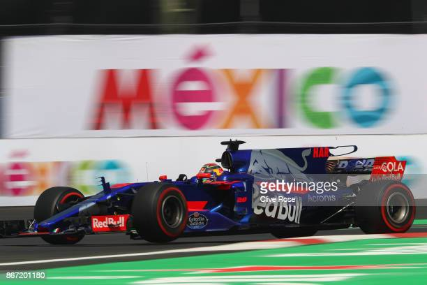 Brendon Hartley of New Zealand driving the Scuderia Toro Rosso STR12 on track during practice for the Formula One Grand Prix of Mexico at Autodromo...
