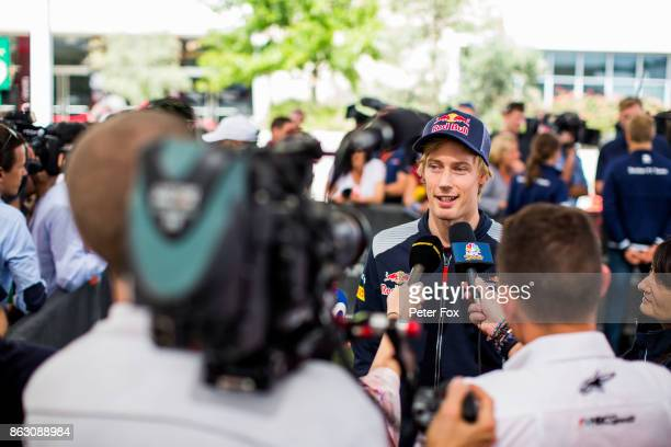 Brendon Hartley of Scuderia Toro Rosso and New Zealand during previews ahead of the United States Formula One Grand Prix at Circuit of The Americas...