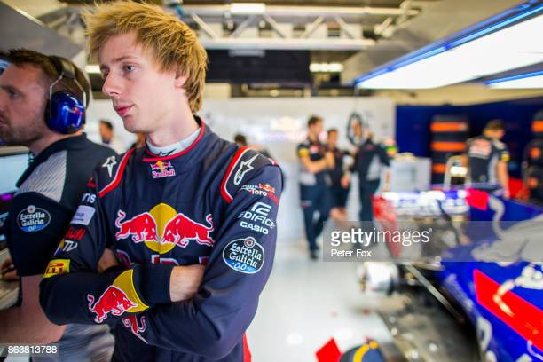 Brendon Hartley of Scuderia Toro Rosso and New Zealand during practice for the United States Formula One Grand Prix at Circuit of The Americas on...