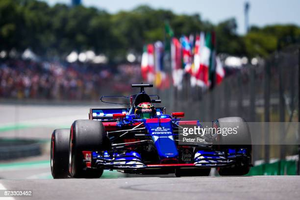 Brendon Hartley of Scuderia Toro Rosso and New Zealand during the Formula One Grand Prix of Brazil at Autodromo Jose Carlos Pace on November 12 2017...