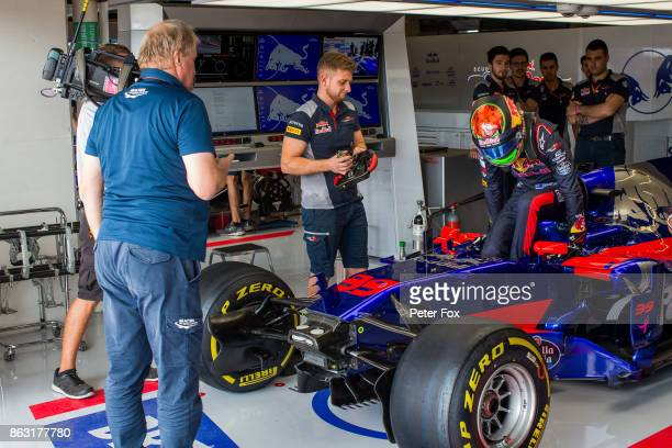 Brendon Hartley of Scuderia Toro Rosso and New Zealand performs his mandatory jump out test for the FIA during previews ahead of the United States...