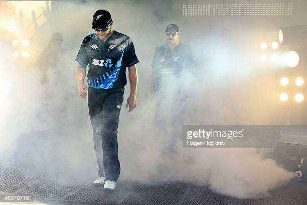Brendon McCullum and brother Nathan McCullum of New Zealand take the field during the game two of the Twenty20 series between New Zealand and the...