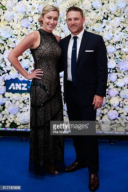 Brendon McCullum and Ellissa McCullum pose ahead of the 2016 New Zealand cricket awards at the Viaduct Events Centre on February 25 2016 in Auckland...
