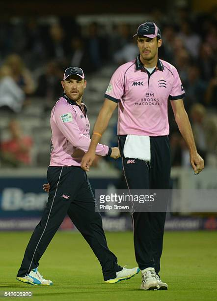Brendon McCullum and Steven Finn of Middlesex during the Natwest T20 Blast match between Middlesex and Somerset at Lord's cricket ground on June 23...