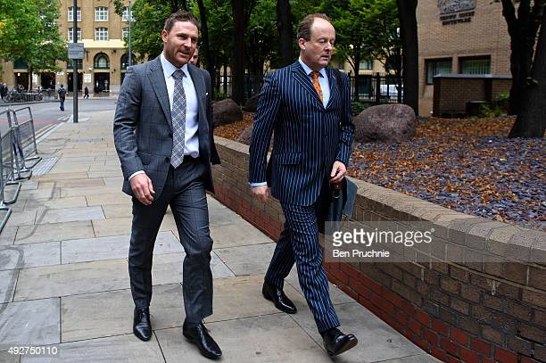 Brendon McCullum arrives at Southwark Crown Court to give evidence in the trial of New Zealand cricketer Chris Cairns on October 15 2015 in London...