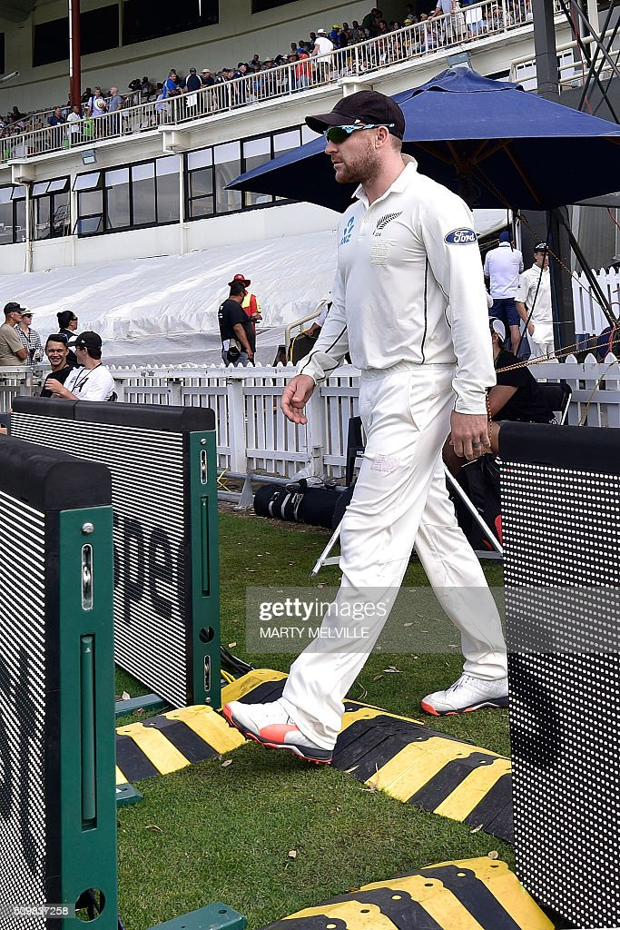 Brendon McCullum captain of New Zealand walks onto the field at the start of the days play during day two of the first cricket Test match between New Zealand and Australia at the Basin Reserve in Wellington on February 13, 2016. AFP PHOTO / MARTY MELVILLE / AFP / Marty Melville