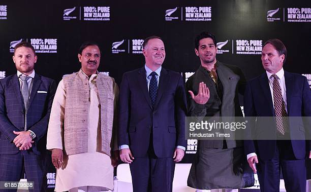 Brendon McCullum Former BLACKCAPS Cricket Captain Minister of Culture Mahesh Sharma New Zealand Prime Minister John Key Bollywood actor and New...