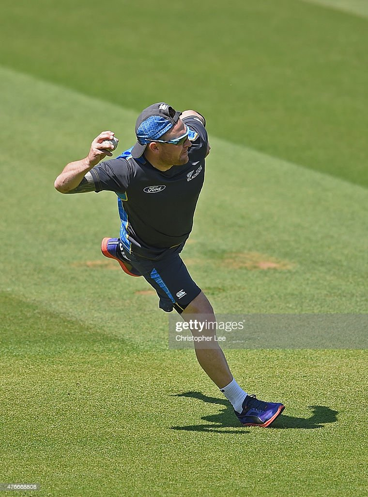 Brendon McCullum in action during the New Zealand Nets Session at The Kia Oval on June 11, 2015 in London, England.