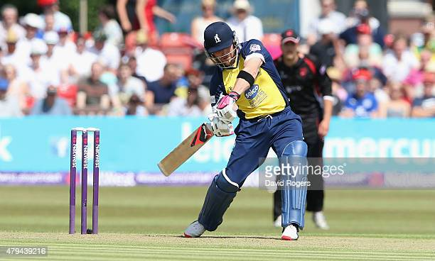 Brendon McCullum of Birmingham Bears skies to ball as is caught out by Grant Elliott during the Natwest T20 Blast match between Leicestershire Foxes...