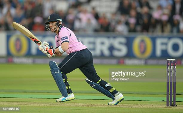 Brendon McCullum of Middlesex bats during the Natwest T20 Blast match between Middlesex and Somerset at Lord's cricket ground on June 23 2016 in...