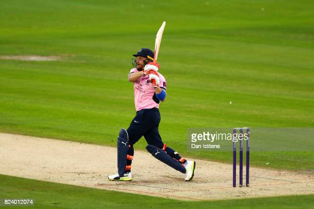 Brendon McCullum of Middlesex bats during the NatWest T20 Blast South Group match between Sussex Sharks and Middlesex at The 1st Central County...