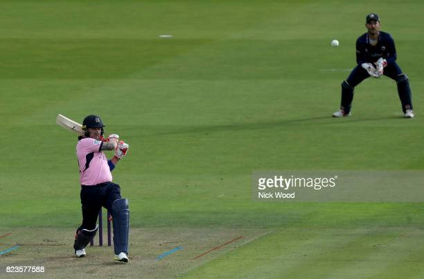 Brendon McCullum of Middlesex hits four runs during the Middlesex v Essex NatWest T20 Blast cricket match at the Lords Cricket Ground on July 27 2017...