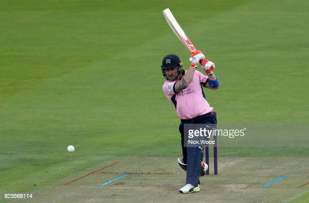 Brendon McCullum of Middlesex hits the first boundary of the day during the Middlesex v Essex NatWest T20 Blast cricket match at the Lords Cricket...
