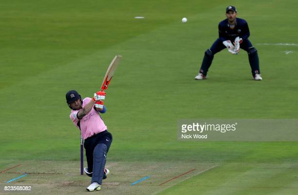 Brendon McCullum of Middlesex hits the first six of the day during the Middlesex v Essex NatWest T20 Blast cricket match at the Lords Cricket Ground...