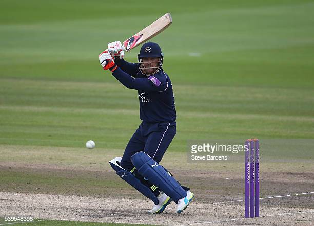 Brendon McCullum of Middlesex plays a shot during the Royal London One Day Cup match between Sussex and Middlesex at The 1st Central County Ground on...