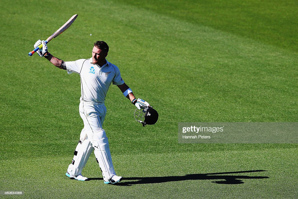 <a gi-track='captionPersonalityLinkClicked' href=/galleries/search?phrase=Brendon+McCullum&family=editorial&specificpeople=208154 ng-click='$event.stopPropagation()'>Brendon McCullum</a> of New Zealand acknowledges the crowd after being dismissed for 195 runs during the test match between New Zealand and Sri Lanka at Hagley Oval on December 26, 2014 in Christchurch, New Zealand.