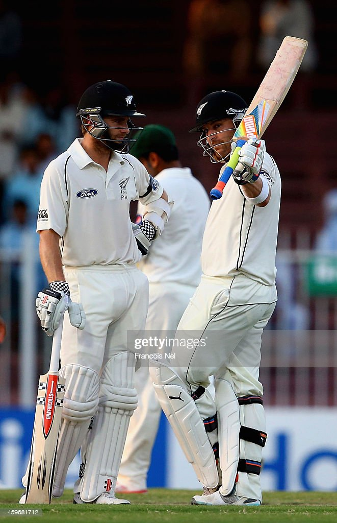 Brendon McCullum of New Zealand acknowledges the crowd after reaching 150 runs during day two of the third test between Pakistan and New Zealand at Sharjah Stadium on November 28, 2014 in Sharjah, United Arab Emirates.