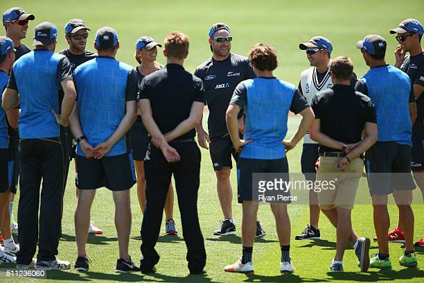 Brendon McCullum of New Zealand addresses his team during a New Zealand nets session at Hagley Oval on February 19 2016 in Christchurch New Zealand