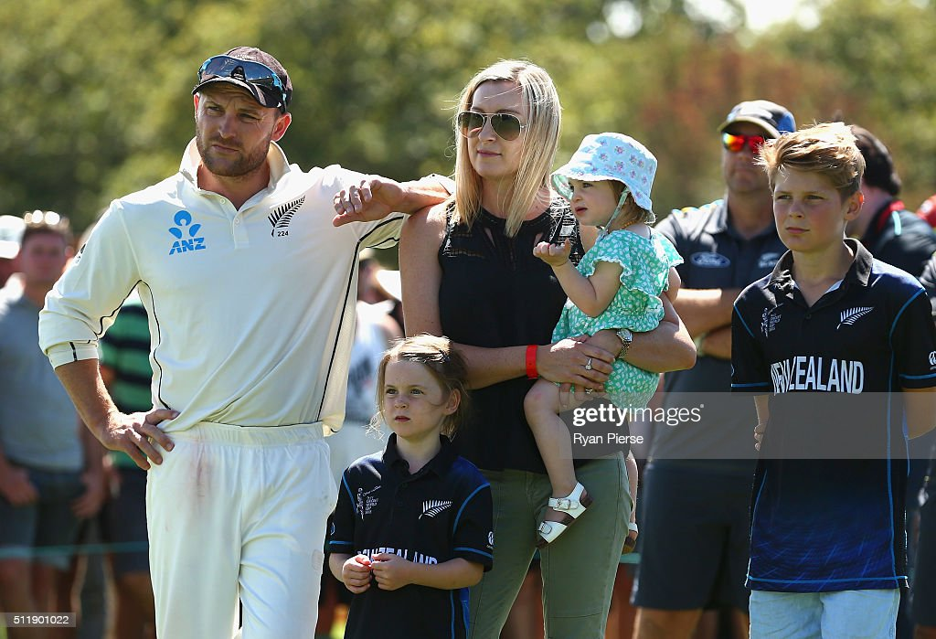 <a gi-track='captionPersonalityLinkClicked' href=/galleries/search?phrase=Brendon+McCullum&family=editorial&specificpeople=208154 ng-click='$event.stopPropagation()'>Brendon McCullum</a> of New Zealand and his family look on during the presentation after his final test during day five of the Test match between New Zealand and Australia at Hagley Oval on February 24, 2016 in Christchurch, New Zealand.