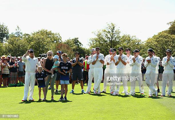 Brendon McCullum of New Zealand and his family look on during the presentation after his final test during day five of the Test match between New...