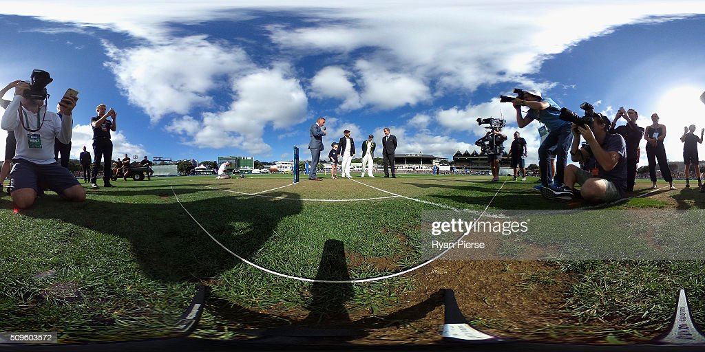 Brendon McCullum of New Zealand and Steve Smith of Australia toss the coin during day one of the Test match between New Zealand and Australia at Basin Reserve on February 12, 2016 in Wellington, New Zealand.
