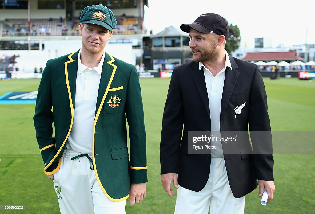 <a gi-track='captionPersonalityLinkClicked' href=/galleries/search?phrase=Brendon+McCullum&family=editorial&specificpeople=208154 ng-click='$event.stopPropagation()'>Brendon McCullum</a> (R) of New Zealand and Steve Smith (L) of Australia walk out doe the coin toss during day one of the Test match between New Zealand and Australia at Basin Reserve on February 12, 2016 in Wellington, New Zealand.