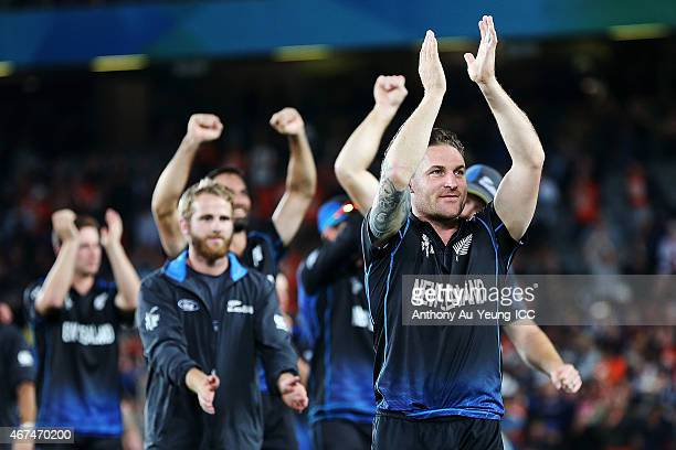 Brendon McCullum of New Zealand and the team celebrate after winning the 2015 Cricket World Cup Semi Final match between New Zealand and South Africa...