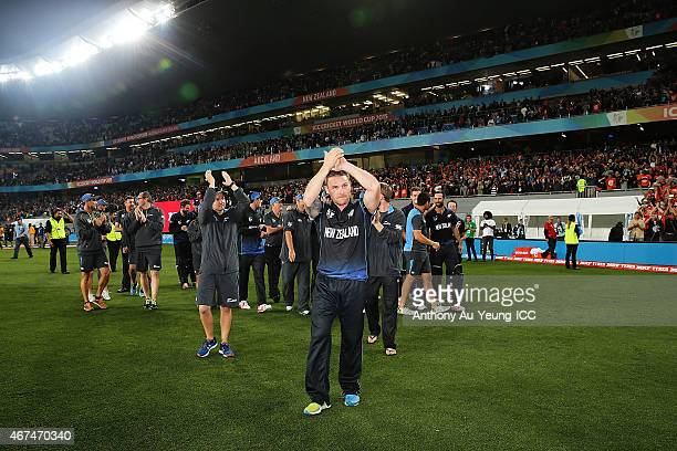 Brendon McCullum of New Zealand and the team celebrate after winning during the 2015 Cricket World Cup Semi Final match between New Zealand and South...