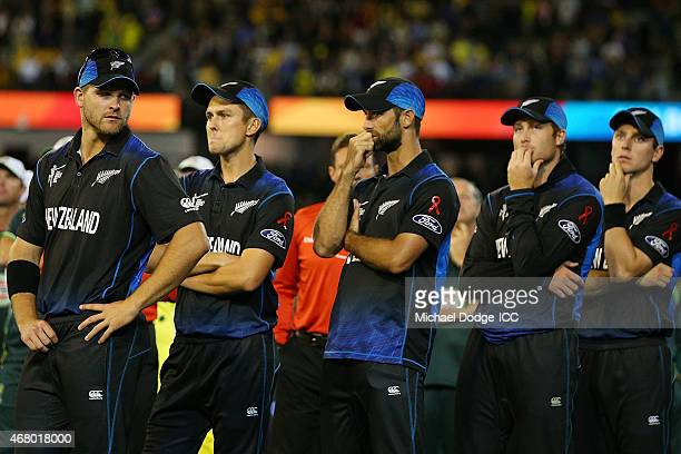 Brendon McCullum of New Zealand and the team reflect after their defeat during the 2015 ICC Cricket World Cup final match between Australia and New...