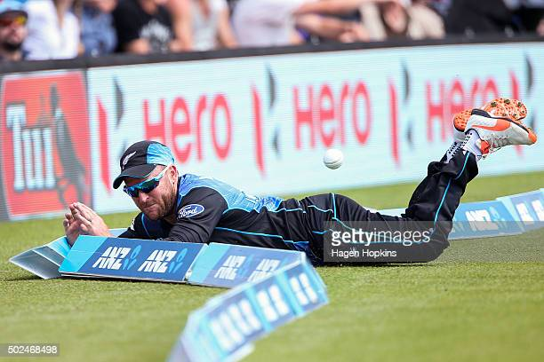 Brendon McCullum of New Zealand attempts to field the ball on the oundary during the first One Day International match between New Zealand and Sri...