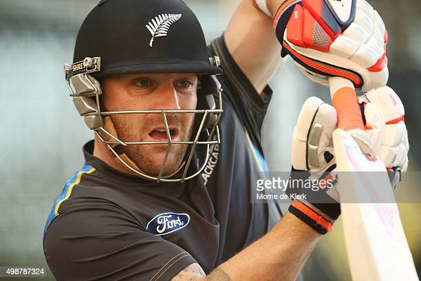 Brendon McCullum of New Zealand bats during a New Zealand training session at Adelaide Oval on November 26 2015 in Adelaide Australia
