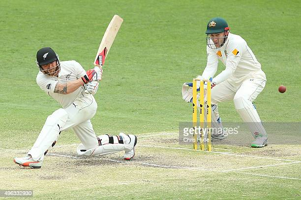 Brendon McCullum of New Zealand bats during day five of the First Test match between Australia and New Zealand at The Gabba on November 9 2015 in...