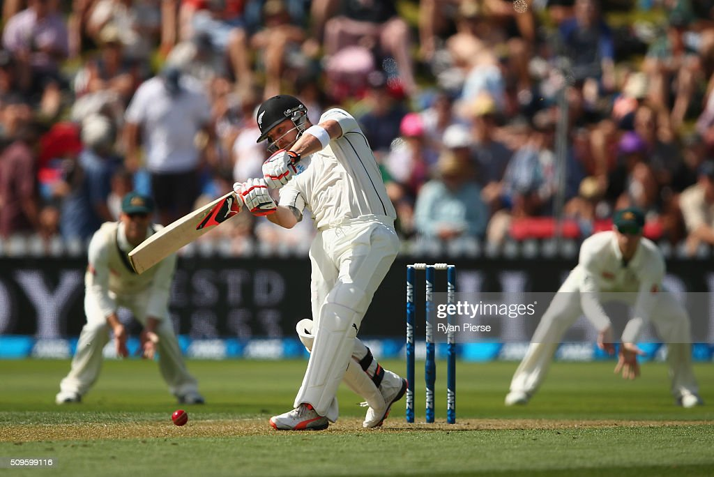 <a gi-track='captionPersonalityLinkClicked' href=/galleries/search?phrase=Brendon+McCullum&family=editorial&specificpeople=208154 ng-click='$event.stopPropagation()'>Brendon McCullum</a> of New Zealand bats during day one of the Test match between New Zealand and Australia at Basin Reserve on February 12, 2016 in Wellington, New Zealand.