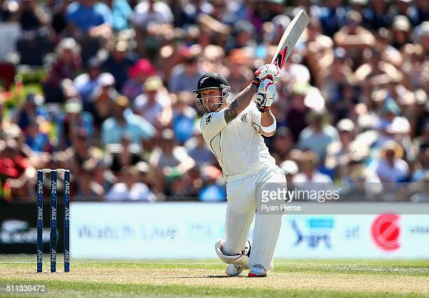 Brendon McCullum of New Zealand bats during day one of the Test match between New Zealand and Australia at Hagley Oval on February 20 2016 in...
