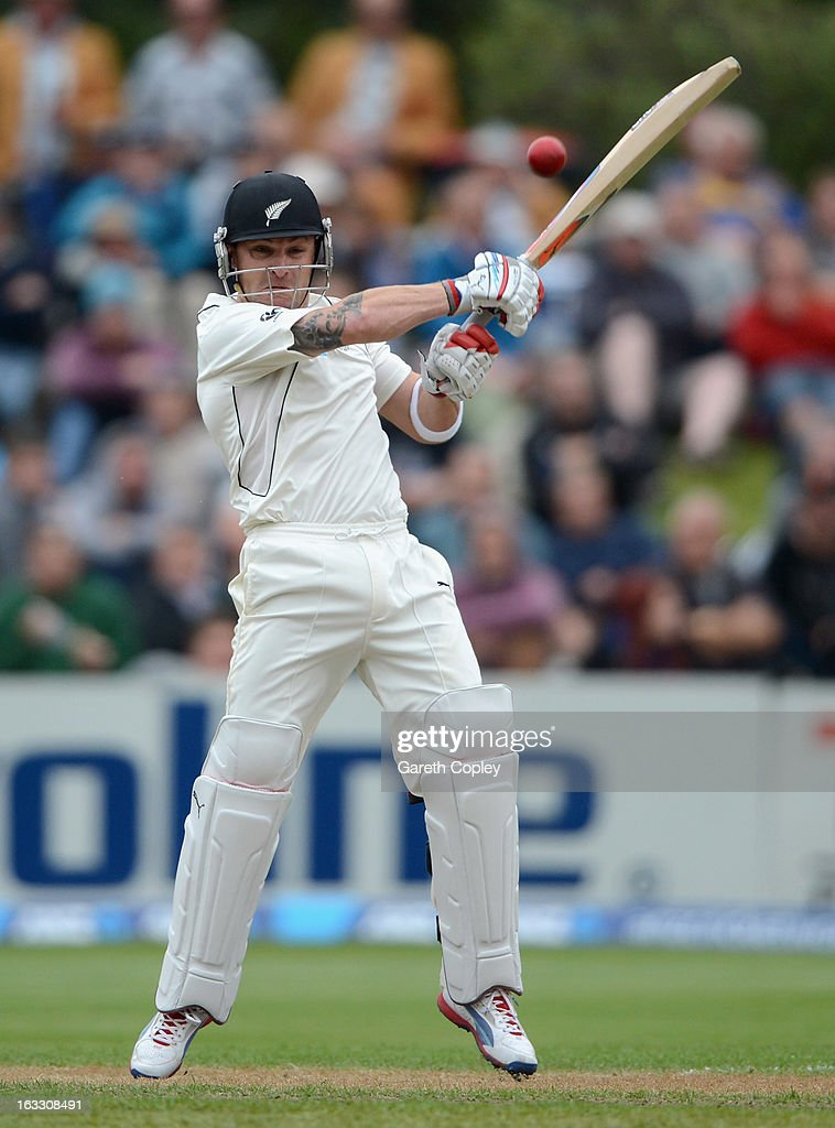 <a gi-track='captionPersonalityLinkClicked' href=/galleries/search?phrase=Brendon+McCullum&family=editorial&specificpeople=208154 ng-click='$event.stopPropagation()'>Brendon McCullum</a> of New Zealand bats during day three of the First Test match between New Zealand and England at University Oval on March 8, 2013 in Dunedin, New Zealand.