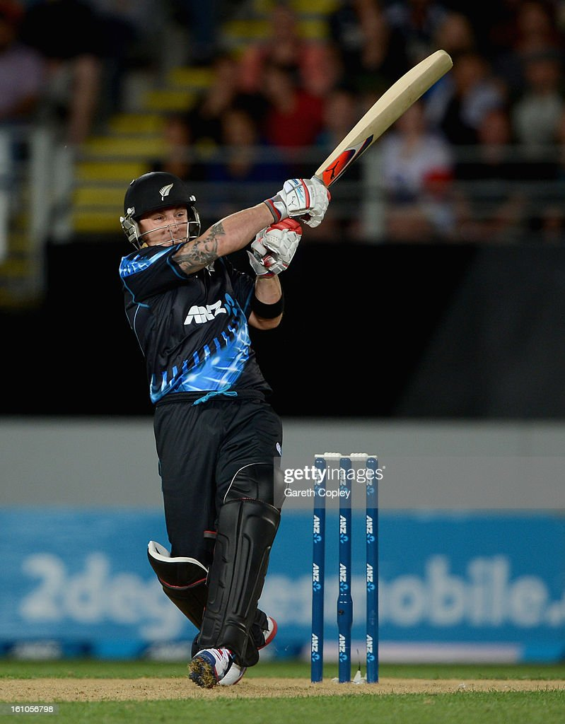 Brendon McCullum of New Zealand bats during the 1st T20 International between New Zealand and England at Eden Park on February 9, 2013 in Auckland, New Zealand.
