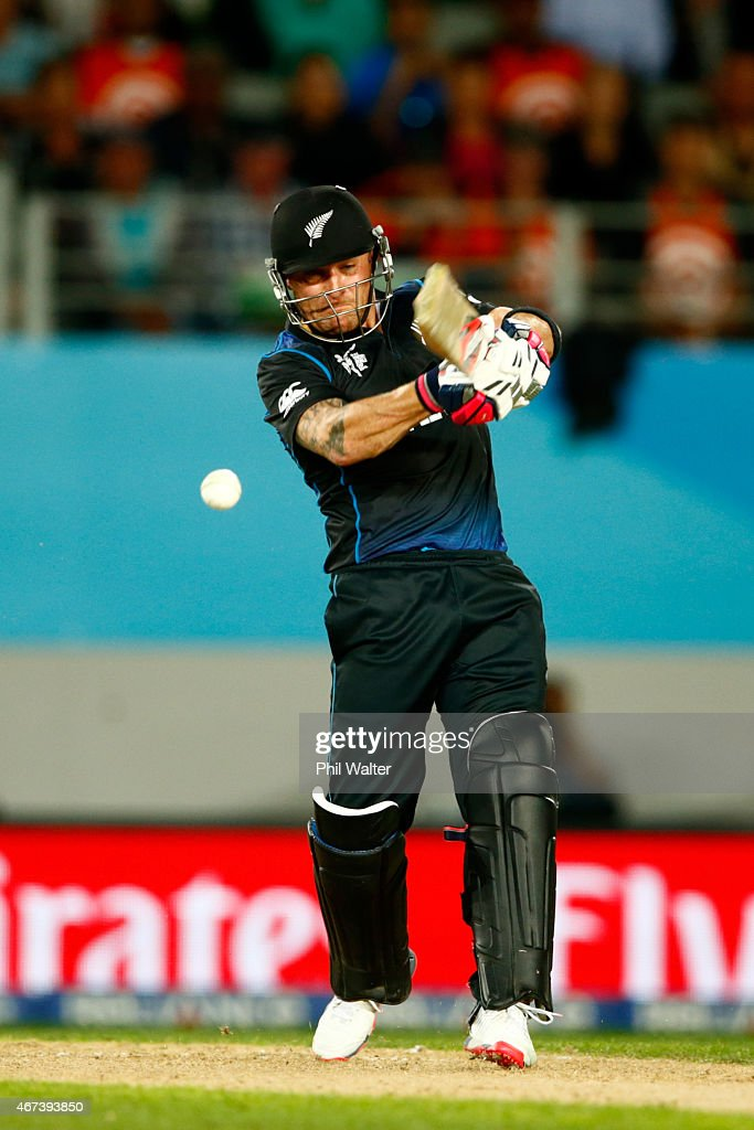Brendon McCullum of New Zealand bats during the 2015 Cricket World Cup Semi Final match between New Zealand and South Africa at Eden Park on March 24...