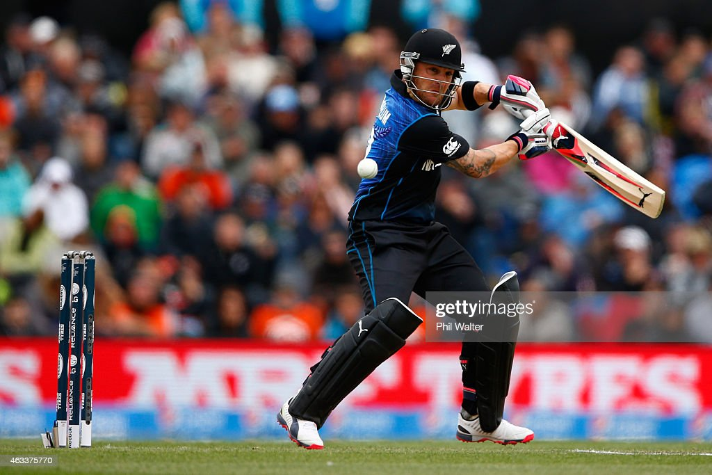 Brendon McCullum of New Zealand bats during the 2015 ICC Cricket World Cup match between New Zealand and Sri Lanka at the Hagley Oval on February 14...