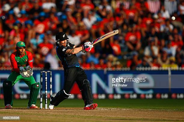Brendon McCullum of New Zealand bats during the 2015 ICC Cricket World Cup match between Bangladesh and New Zealand at Seddon Park on March 13 2015...