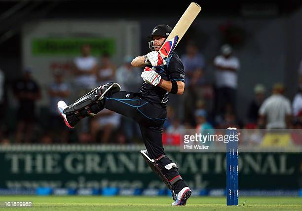 Brendon McCullum of New Zealand bats during the first match of the one day international series between New Zealand and England at Seddon Park on...