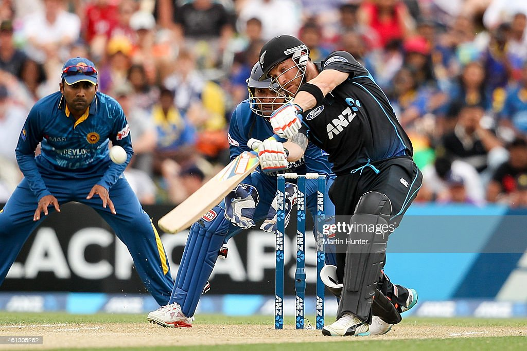 Brendon McCullum of New Zealand bats during the One Day International match between New Zealand and Sri Lanka at Hagley Oval on January 11 2015 in...