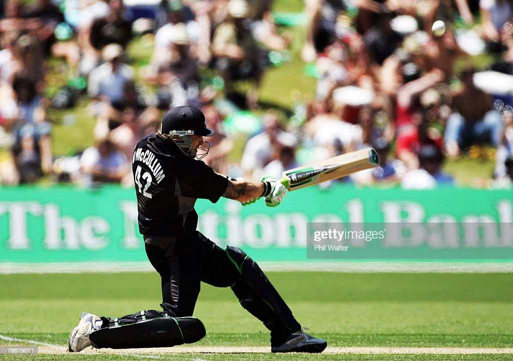 Brendon McCullum of New Zealand bats during the third one day international match between New Zealand and Bangladesh at Queenstown Events Centre on...