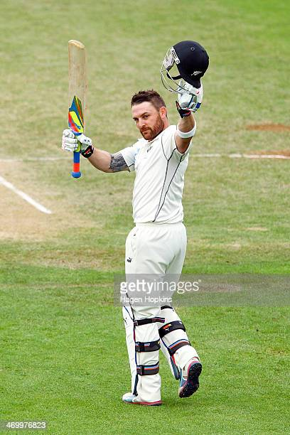 Brendon McCullum of New Zealand celebrates after reaching 300 runs for New Zealand's first ever triple century and the highest ever score by a New...
