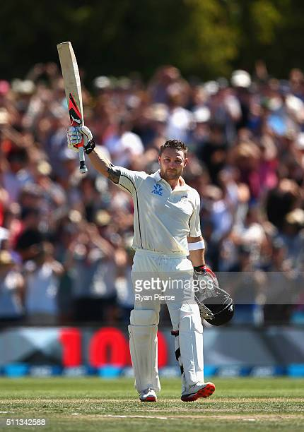Brendon McCullum of New Zealand celebrates after reaching his century and breaking the world record for the fastest test century during day one of...