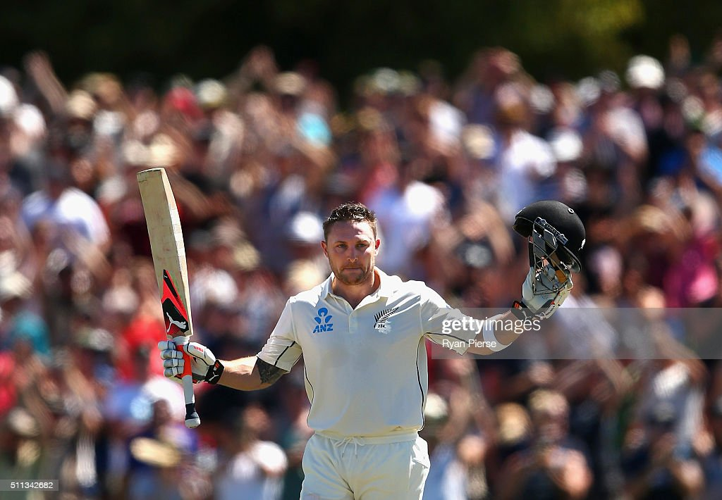 <a gi-track='captionPersonalityLinkClicked' href=/galleries/search?phrase=Brendon+McCullum&family=editorial&specificpeople=208154 ng-click='$event.stopPropagation()'>Brendon McCullum</a> of New Zealand celebrates after reaching his century and breaking the world record for the fastest test century during day one of the Test match between New Zealand and Australia at Hagley Oval on February 20, 2016 in Christchurch, New Zealand.