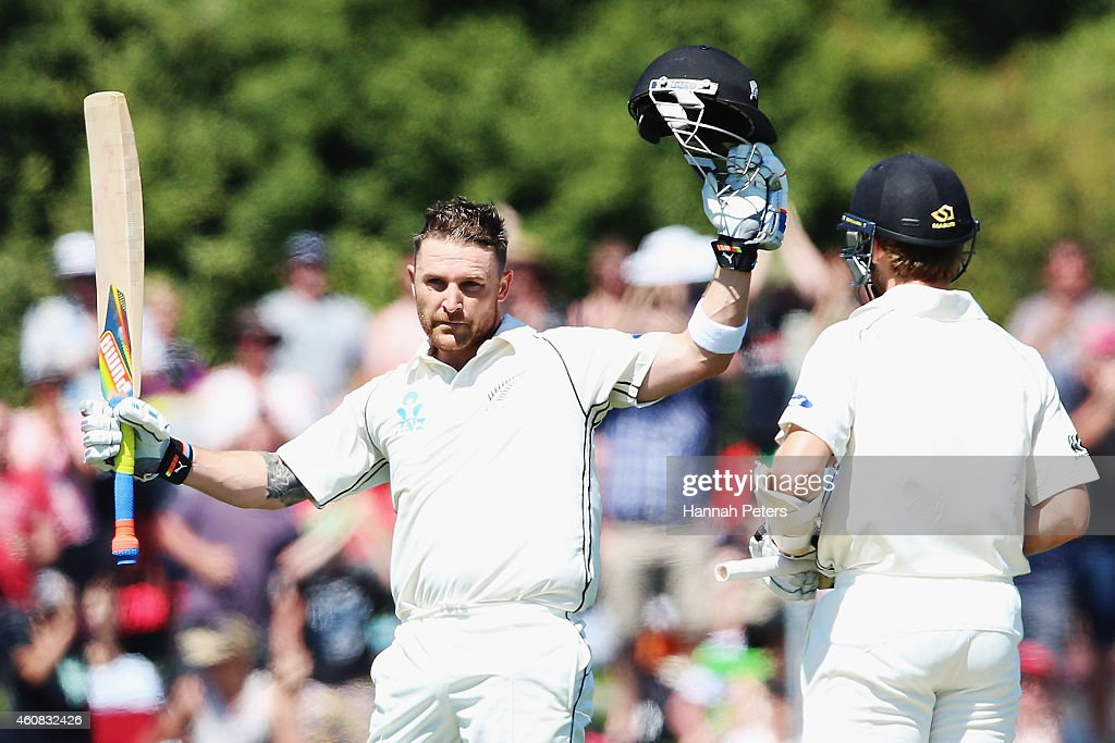 <a gi-track='captionPersonalityLinkClicked' href=/galleries/search?phrase=Brendon+McCullum&family=editorial&specificpeople=208154 ng-click='$event.stopPropagation()'>Brendon McCullum</a> of New Zealand celebrates after scoring a century during the test match between New Zealand and Sri Lanka at Hagley Oval on December 26, 2014 in Christchurch, New Zealand.