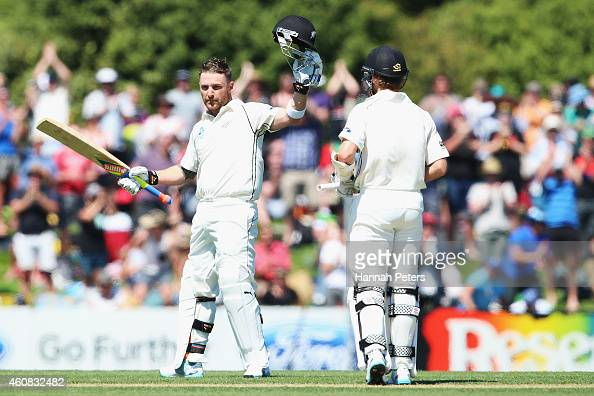 Brendon McCullum of New Zealand celebrates after scoring a century during the test match between New Zealand and Sri Lanka at Hagley Oval on December...