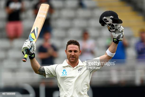 Brendon McCullum of New Zealand celebrates his 200 run double century during day two of the First Test match between New Zealand and India at Eden...